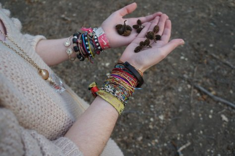 baby pinecones and arm candy