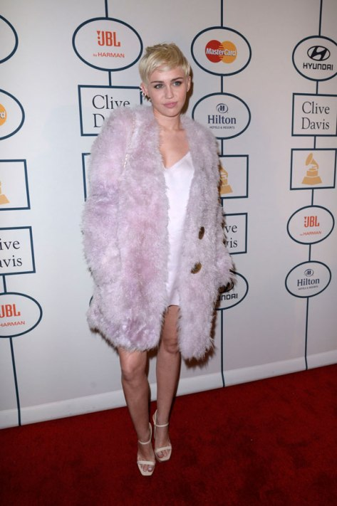 Miley Cyrus at the Clive Davis Pre-Grammys Gala 2014 red carpet fashion