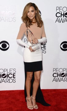 Naya Rivera peoples choice awards 2014 red carpet high low colorblock white nude and black dress