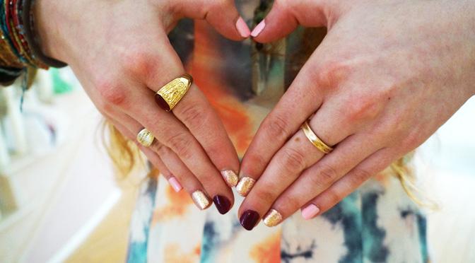 valentines nail art diy pink gold burgundy
