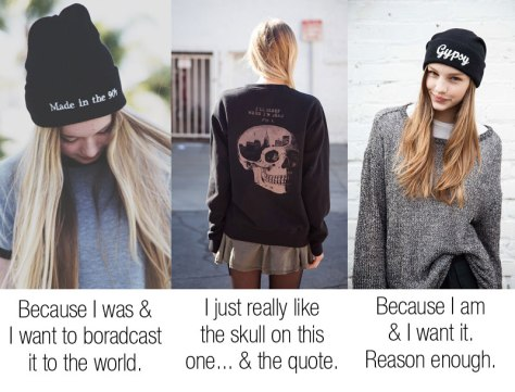 Brandy Melville Beanie and Sweater Erica I'll Sleep When I'm Dead Sweater   Gypsy Embroidery Beanie  Made in the 90's Embroidery Beanie